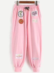 Pink Embroidery Patch Drawstring Pants
