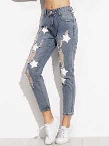 Blue Star Pattern Ripped Denim Pants