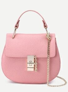 Pink Faux Leather Chain Saddle Bag
