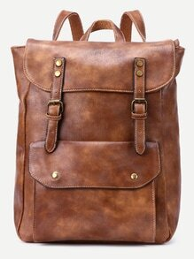 Apricot Buckle Strap Flap Pocket Backpack