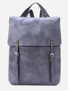 Grey Double Buckle Strap Flap Backpack