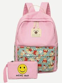 Pink Cartoon Print Double Strap Canvas Backpack With Clutch