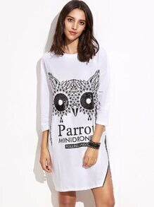 White Parrot Print Drop Shoulder One Side Zip Dress