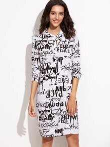White Letters Print Half Placket Chiffon Shirt Dress