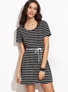 Black And White Striped Self Tie Tee Dress