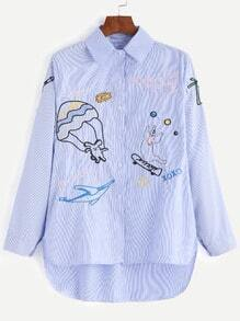 Blue Pinstripe Cartoon Embroidered Dip Hem Blouse