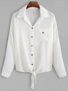 White Dropped Shoulder Seam Knot Front Pocket Blouse