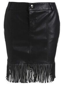 Black Faux Leather Fringe Hem Button Fly Skirt