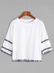 White Dropped Shoulder Seam Fringe Trim T-shirt