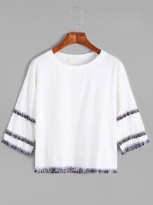 White Dropped Shoulder Seam Fringe Trim T-shirt