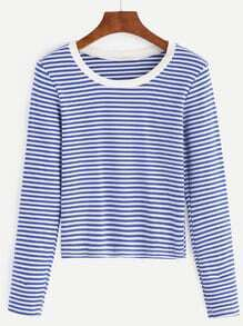 Blue Striped Contrast Neck T-shirt
