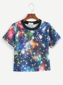 Contrast Neck Galaxy Print Cuffed T-shirt