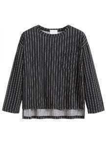 Black Vertical Striped Drop Shoulder Dip Hem T-shirt