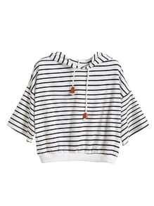 White Striped Dropped Shoulder Seam Drawstring Hooded T-shirt