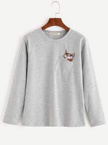 Heather Grey Cat Embroidered Pocket T-shirt