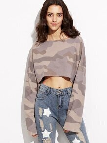 Camo Print Dropped Shoulder Seam Dip Hem Crop T-shirt