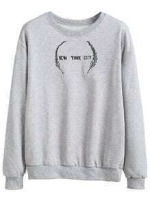 Light Grey Drop Shoulder Embroidered Sweatshirt