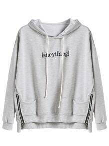 Grey High Low Letter Embroidered Zips Drawstring Hooded Sweatshirt