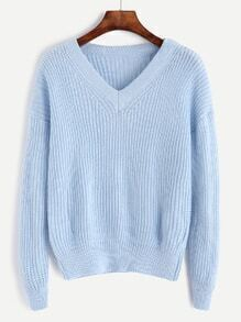 Blue V Neck Drop Shoulder Sweater