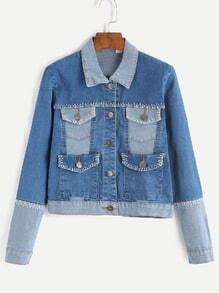 Blue Contrast Pockets Denim Jacket With Stitch Detail