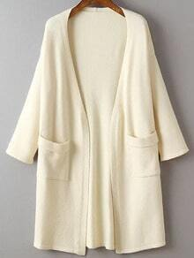 Beige Drop Shoulder Rolled Cuff Long Cardigan With Pockets