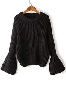 Black Drop Shoulder Lantern Sleeve Oversized Sweater