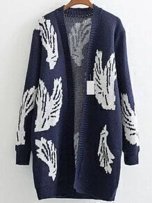 Navy Wing Pattern Ribbed Trim Long Cardigan