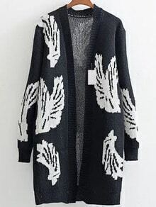 Black Wing Pattern Ribbed Trim Long Cardigan