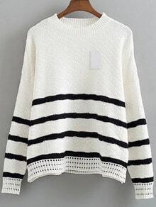 White Striped Crew Neck Drop Shoulder Loose Sweater