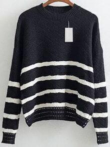 Black Striped Crew Neck Drop Shoulder Loose Sweater