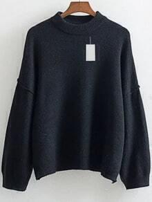 Black Crew Neck Drop Shoulder Ribbed Trim Sweater