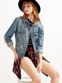 Blue Ripped Button Front Denim Jacket With Pockets