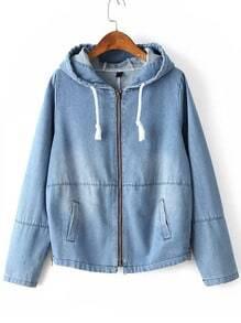 Light Blue Zipper Up Drawstring Hooded Jacket With Pocket