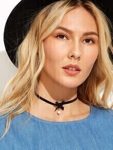 Black Small Bow Faux Pearl Pendant Choker Necklace