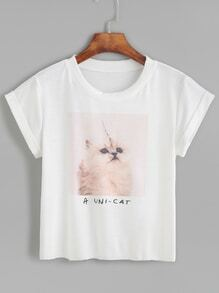White Cat Print Roll Sleeve T-shirt