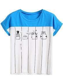 White Color Block Penguin Print T-shirt