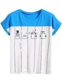 White Color Block Penguin Print T-shirt