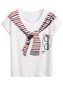 White Scarf Print Dolman Sleeve T-shirt