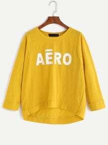 Yellow Letter Print Dip Hem T-shirt