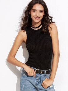 Black Choker Neck Ribbed Knit Tank Top