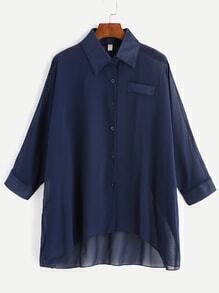 Navy Single Breasted High Low Chiffon Blouse