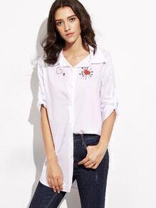 White Embroidery Button Front Long Blouse