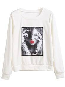 White Print Patch Long Sleeve Sweatshirt