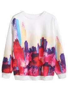 White Graffiti Print Long Sleeve Sweatshirt