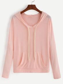 Pink Drop Shoulder Drawstring Hooded Sweatshirt With Pocket