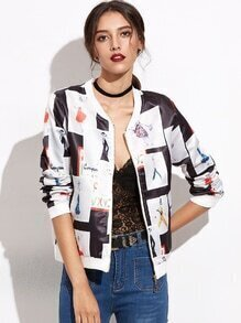 White Patchwork Baseball Jacket With Zipper
