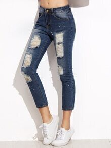 Blue Ripped Slim Denim Pants