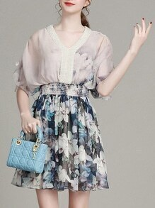 Multicolor V Neck Elastic-Waist Flowers Print Dress