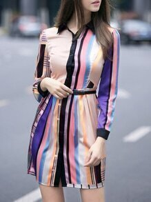 Apricot Color Block Lapel Belted Dress