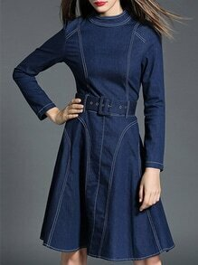 Blue Collar Belted A-Line Denim Dress